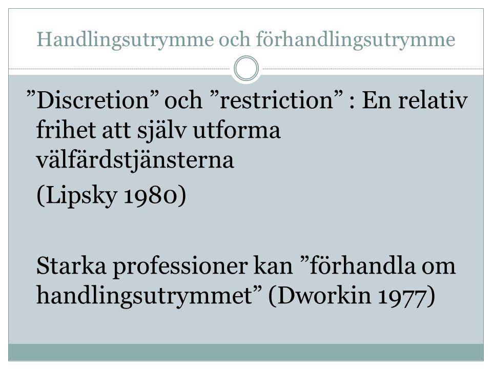 Handlingsutrymme och förhandlingsutrymme Discretion och restriction : En relativ frihet att själv utforma välfärdstjänsterna (Lipsky 1980) Starka professioner kan förhandla om handlingsutrymmet (Dworkin 1977)