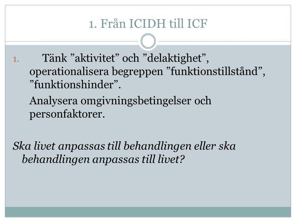 1.Från ICIDH till ICF 1.