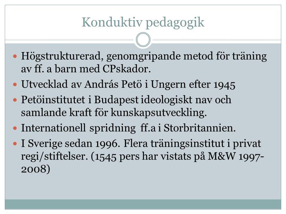 Konduktiv pedagogik Högstrukturerad, genomgripande metod för träning av ff.
