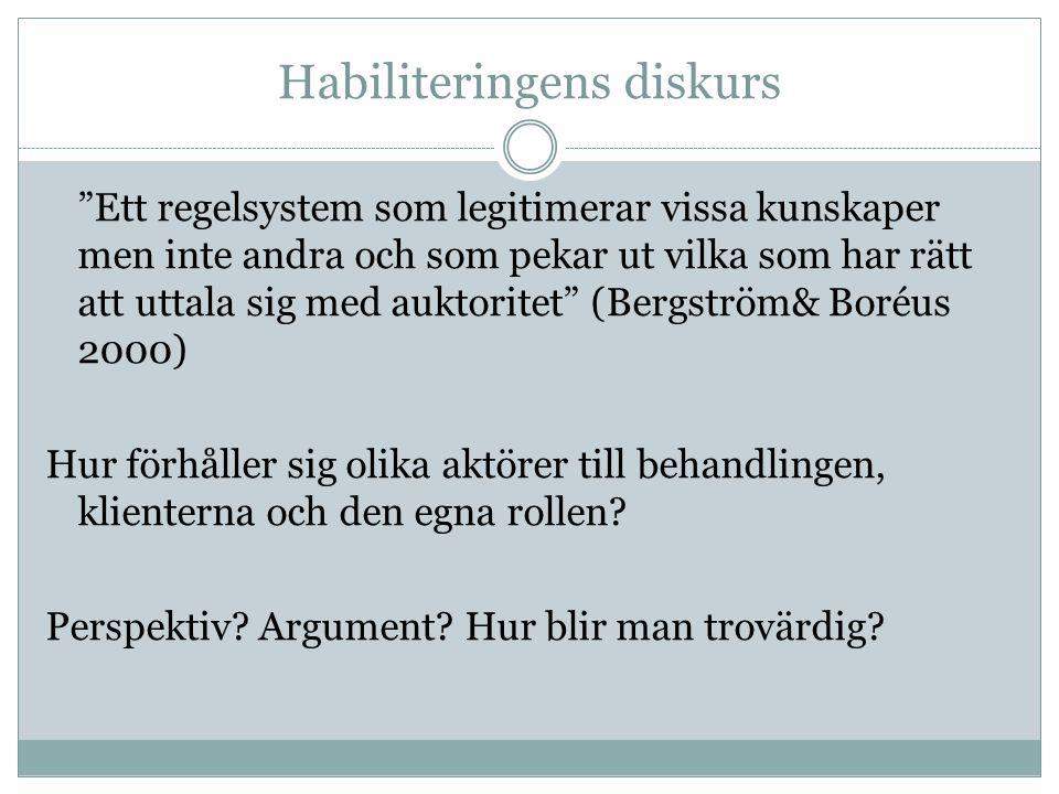 Habiliteringens diskurs Ett regelsystem som legitimerar vissa kunskaper men inte andra och som pekar ut vilka som har rätt att uttala sig med auktoritet (Bergström& Boréus 2000) Hur förhåller sig olika aktörer till behandlingen, klienterna och den egna rollen.