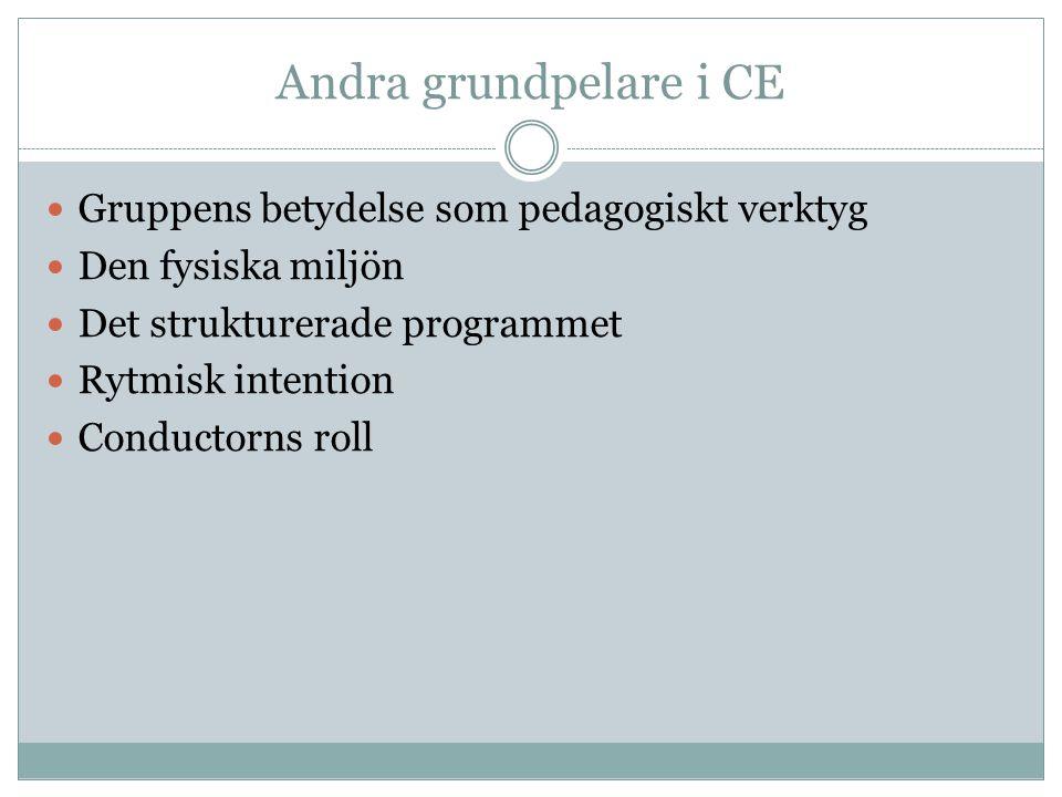 Andra grundpelare i CE Gruppens betydelse som pedagogiskt verktyg Den fysiska miljön Det strukturerade programmet Rytmisk intention Conductorns roll