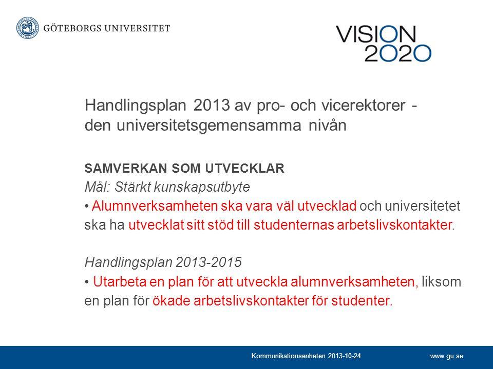 www.gu.seKommunikationsenheten 2013-10-24 Handlingsplan 2013 av pro- och vicerektorer - den universitetsgemensamma nivån SAMVERKAN SOM UTVECKLAR Mål: