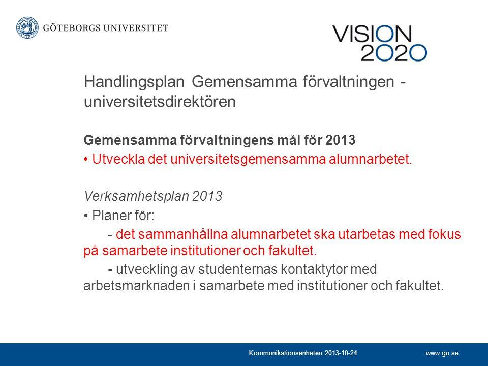 www.gu.seKommunikationsenheten 2013-10-24 Handlingsplan Gemensamma förvaltningen - universitetsdirektören Gemensamma förvaltningens mål för 2013 Utveckla det universitetsgemensamma alumnarbetet.
