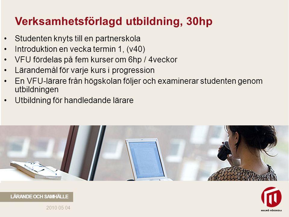 2010 05 04 LÄRANDE OCH SAMHÄLLE Utbildningsvetenskaplig kärna, 60hp Fyra kurser om 9hp: - Sociala relationer, demokrati och pedagogiskt ledarskap - Utveckling, lärande och specialpedagogik - Skola, värdegrund och samhälle - Forskning, utveckling och utvärdering Återstående 24hp: - Styrdokument och didaktik - Bedömning och betygssättning integreras med ämnestudierna i Malmö högskolas lärarutbildningsämnen