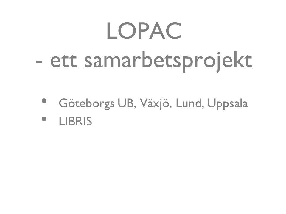LOPAC - ett samarbetsprojekt Göteborgs UB, Växjö, Lund, Uppsala LIBRIS
