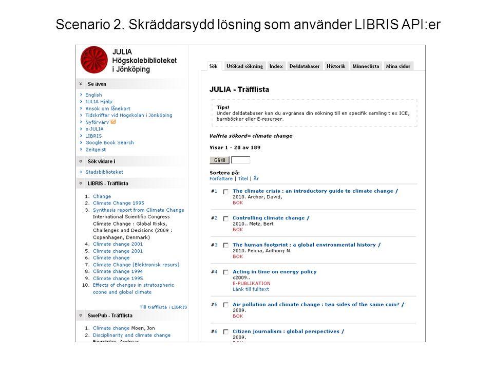 Scenario 2. Skräddarsydd lösning som använder LIBRIS API:er