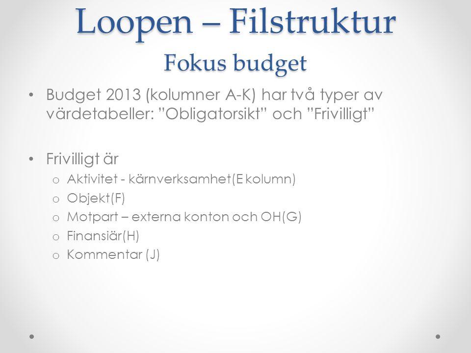 """Loopen – Filstruktur Fokus budget Budget 2013 (kolumner A-K) har två typer av värdetabeller: """"Obligatorsikt"""" och """"Frivilligt"""" Frivilligt är o Aktivite"""