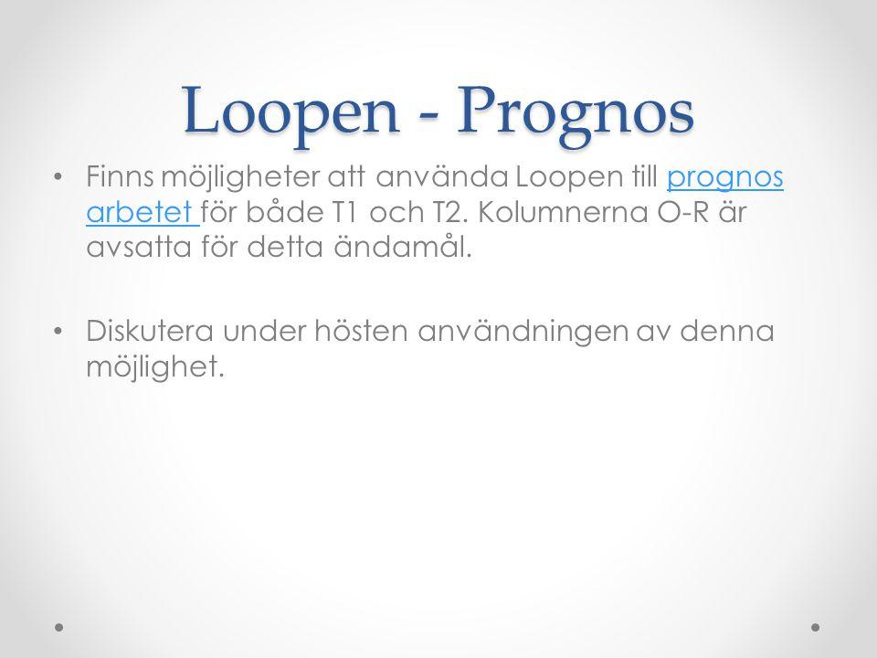 Loopen - Prognos Finns möjligheter att använda Loopen till prognos arbetet för både T1 och T2. Kolumnerna O-R är avsatta för detta ändamål.prognos arb