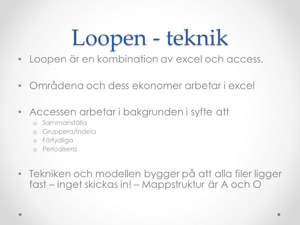 Loopen - teknik Loopen är en kombination av excel och access. Områdena och dess ekonomer arbetar i excel Accessen arbetar i bakgrunden i syfte att o S