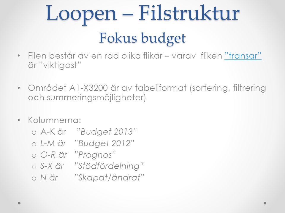 """Loopen – Filstruktur Fokus budget Filen består av en rad olika flikar – varav fliken """"transar"""" är """"viktigast""""""""transar"""" Området A1-X3200 är av tabellfo"""