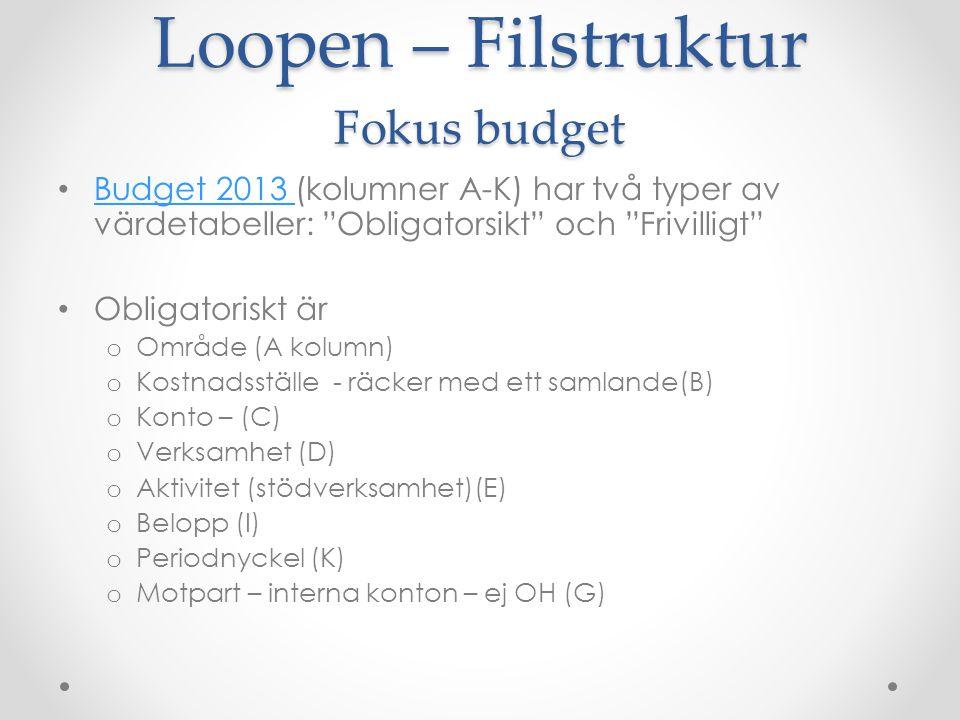 """Loopen – Filstruktur Fokus budget Budget 2013 (kolumner A-K) har två typer av värdetabeller: """"Obligatorsikt"""" och """"Frivilligt"""" Budget 2013 Obligatorisk"""