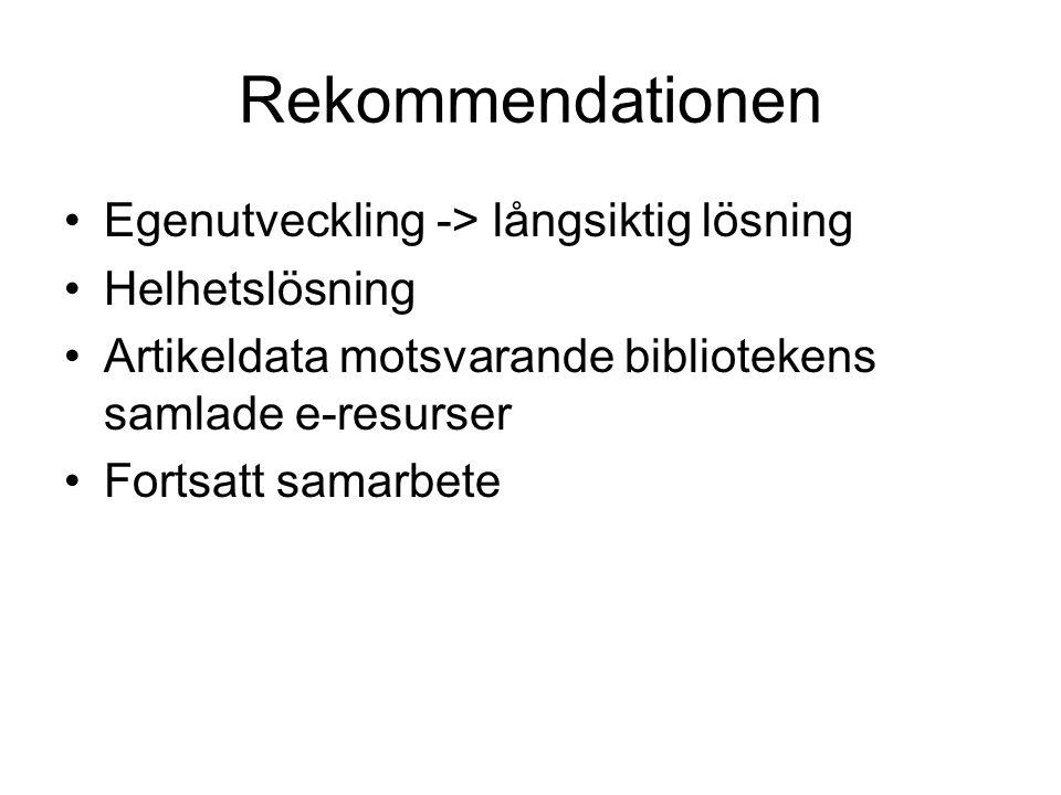 Rekommendationen Egenutveckling -> långsiktig lösning Helhetslösning Artikeldata motsvarande bibliotekens samlade e-resurser Fortsatt samarbete