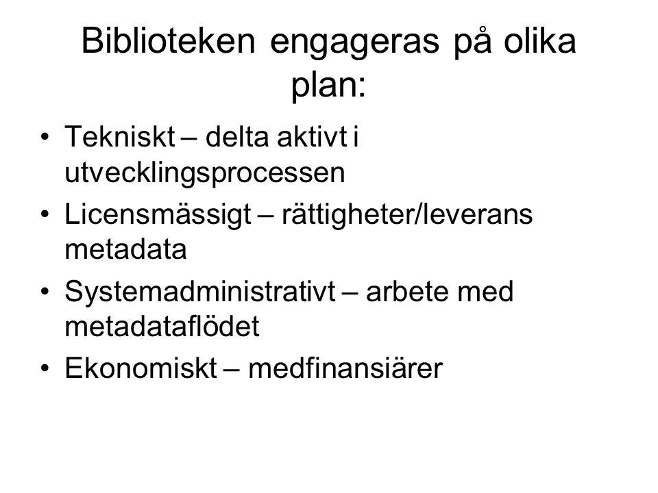 Biblioteken engageras på olika plan: Tekniskt – delta aktivt i utvecklingsprocessen Licensmässigt – rättigheter/leverans metadata Systemadministrativt