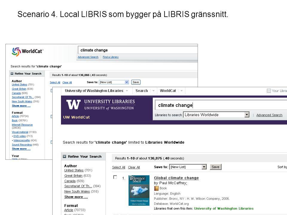 Scenario 4. Local LIBRIS som bygger på LIBRIS gränssnitt.