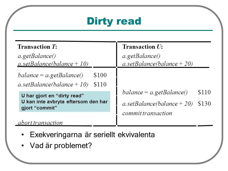 TransactionT: a.getBalance() a.setBalance(balance + 10) TransactionU: a.getBalance() a.setBalance(balance + 20) balance = a.getBalance()$100 a.setBalance(balance + 10)$110 balance = a.getBalance()$110 a.setBalance(balance + 20) $130 commit transaction abort transaction Dirty read Exekveringarna är seriellt ekvivalenta Vad är problemet.