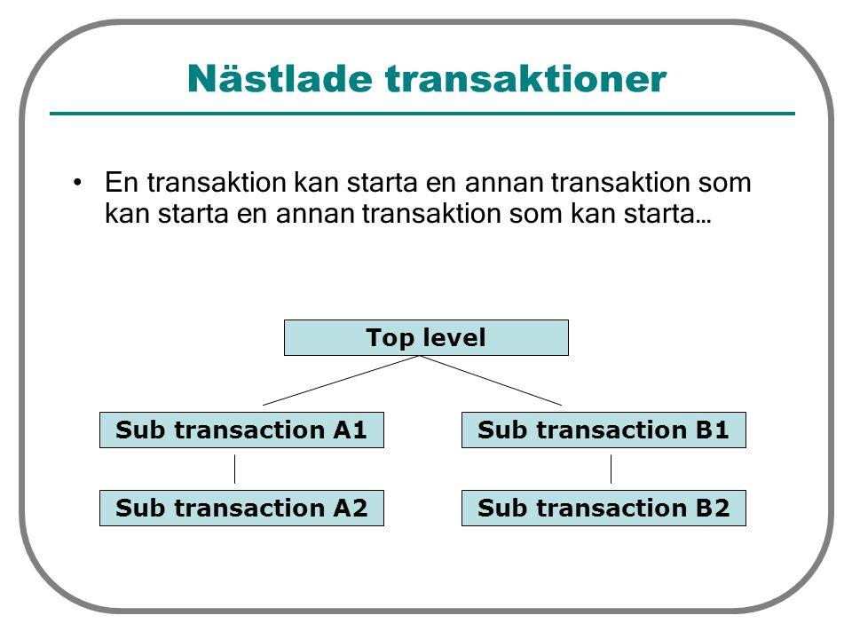 Nästlade transaktioner En transaktion kan starta en annan transaktion som kan starta en annan transaktion som kan starta… Top level Sub transaction A1Sub transaction B1 Sub transaction A2Sub transaction B2