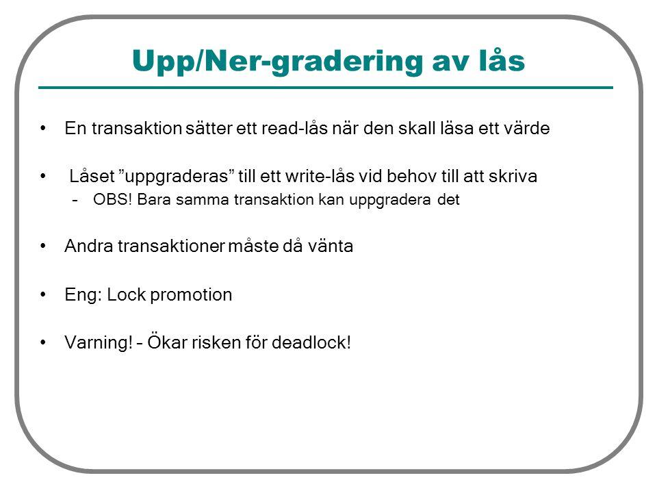 Upp/Ner-gradering av lås En transaktion sätter ett read-lås när den skall läsa ett värde Låset uppgraderas till ett write-lås vid behov till att skriva –OBS.
