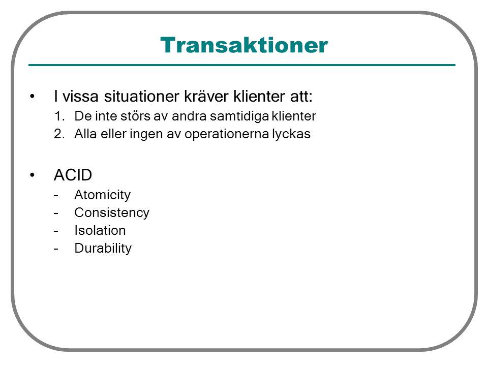 Transaktioner I vissa situationer kräver klienter att: 1.De inte störs av andra samtidiga klienter 2.Alla eller ingen av operationerna lyckas ACID –At