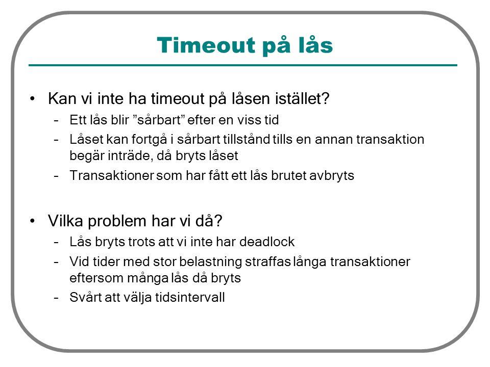 """Timeout på lås Kan vi inte ha timeout på låsen istället? –Ett lås blir """"sårbart"""" efter en viss tid –Låset kan fortgå i sårbart tillstånd tills en anna"""