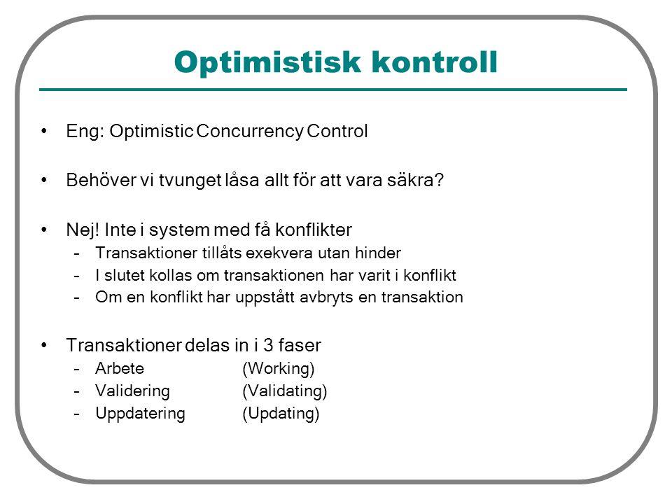 Optimistisk kontroll Eng: Optimistic Concurrency Control Behöver vi tvunget låsa allt för att vara säkra? Nej! Inte i system med få konflikter –Transa