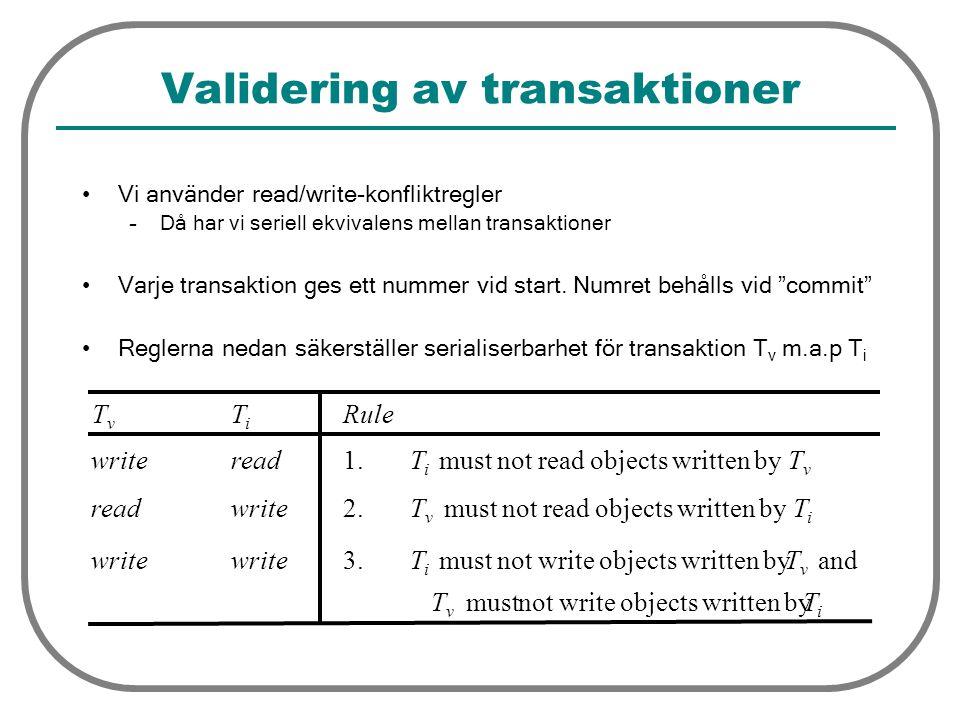 Validering av transaktioner Vi använder read/write-konfliktregler –Då har vi seriell ekvivalens mellan transaktioner Varje transaktion ges ett nummer vid start.
