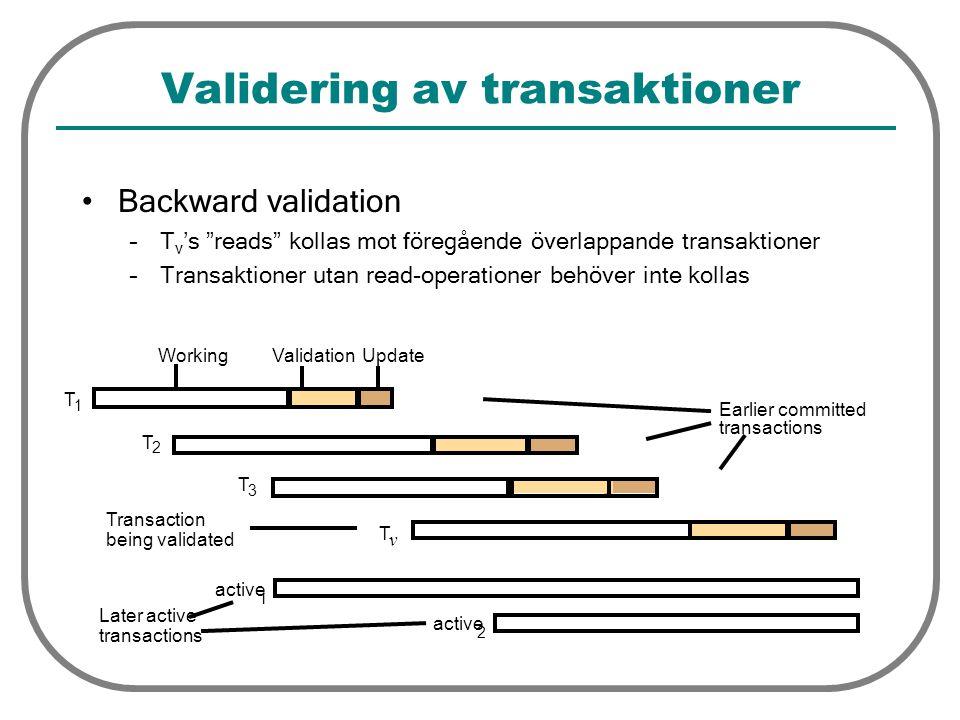 """Validering av transaktioner Backward validation –T v 's """"reads"""" kollas mot föregående överlappande transaktioner –Transaktioner utan read-operationer"""