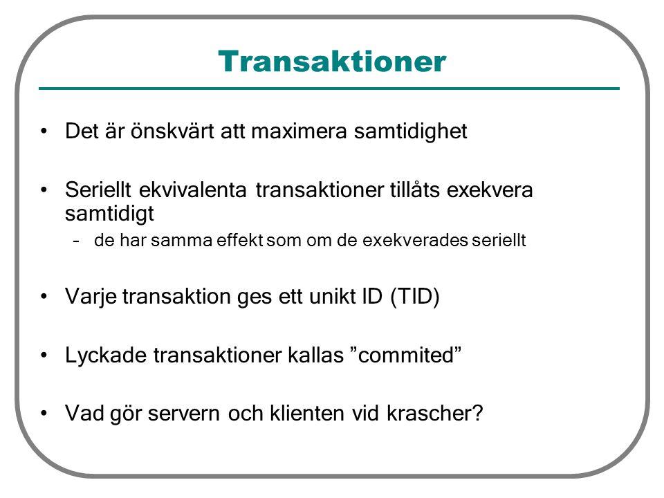 Transaktioner Det är önskvärt att maximera samtidighet Seriellt ekvivalenta transaktioner tillåts exekvera samtidigt –de har samma effekt som om de exekverades seriellt Varje transaktion ges ett unikt ID (TID) Lyckade transaktioner kallas commited Vad gör servern och klienten vid krascher?