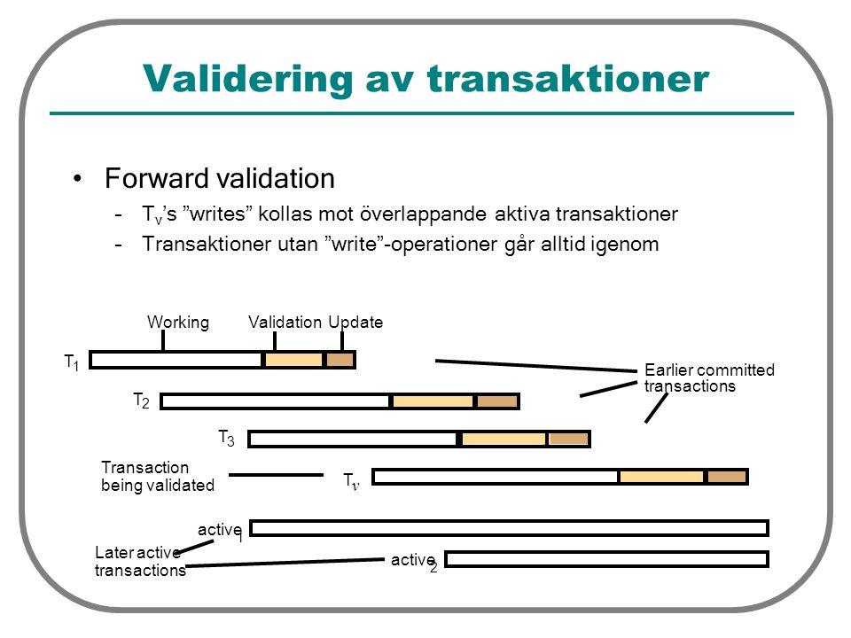 """Validering av transaktioner Forward validation –T v 's """"writes"""" kollas mot överlappande aktiva transaktioner –Transaktioner utan """"write""""-operationer g"""