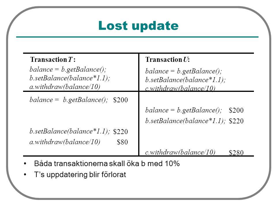 Lost update Båda transaktionerna skall öka b med 10% T's uppdatering blir förlorat TransactionT: balance = b.getBalance(); b.setBalance(balance*1.1); a.withdraw(balance/10) TransactionU: balance = b.getBalance(); b.setBalance(balance*1.1); c.withdraw(balance/10) balance = b.getBalance(); $200 balance = b.getBalance(); $200 b.setBalance(balance*1.1); $220 b.setBalance(balance*1.1); $220 a.withdraw(balance/10) $80 c.withdraw(balance/10) $280