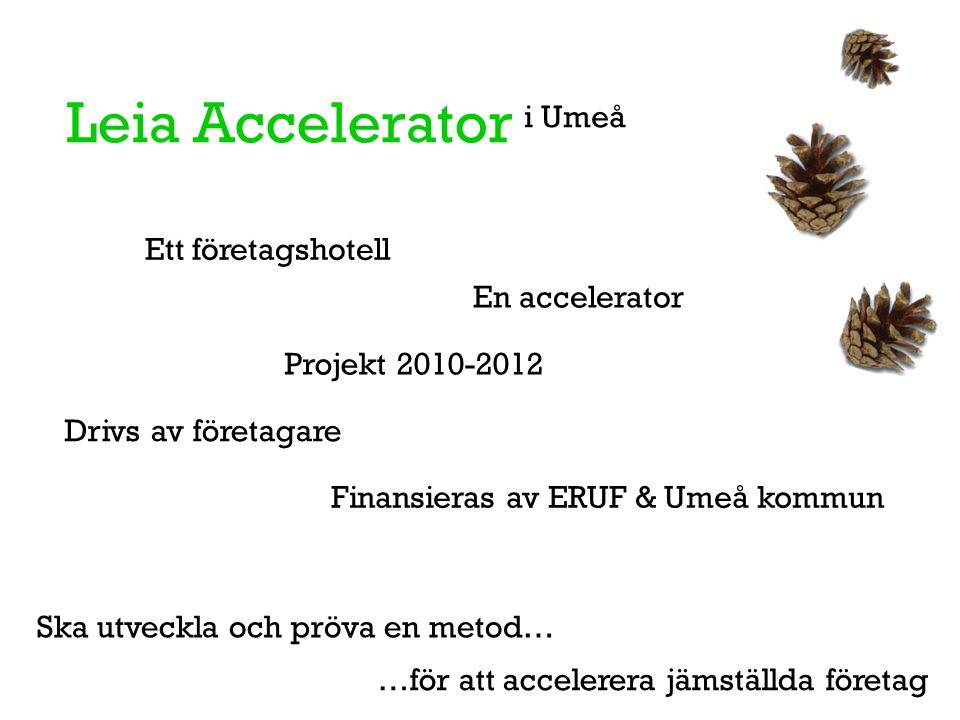 Leia Accelerator i Umeå Ska utveckla och pröva en metod… Finansieras av ERUF & Umeå kommun Drivs av företagare …för att accelerera jämställda företag