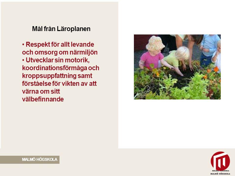 2010 05 04 Mål från Läroplanen Respekt för allt levande och omsorg om närmiljön Utvecklar sin motorik, koordinationsförmåga och kroppsuppfattning samt