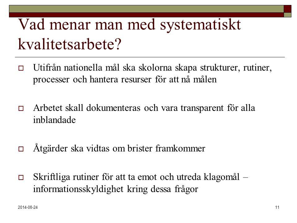 2014-08-2411 Vad menar man med systematiskt kvalitetsarbete?  Utifrån nationella mål ska skolorna skapa strukturer, rutiner, processer och hantera re
