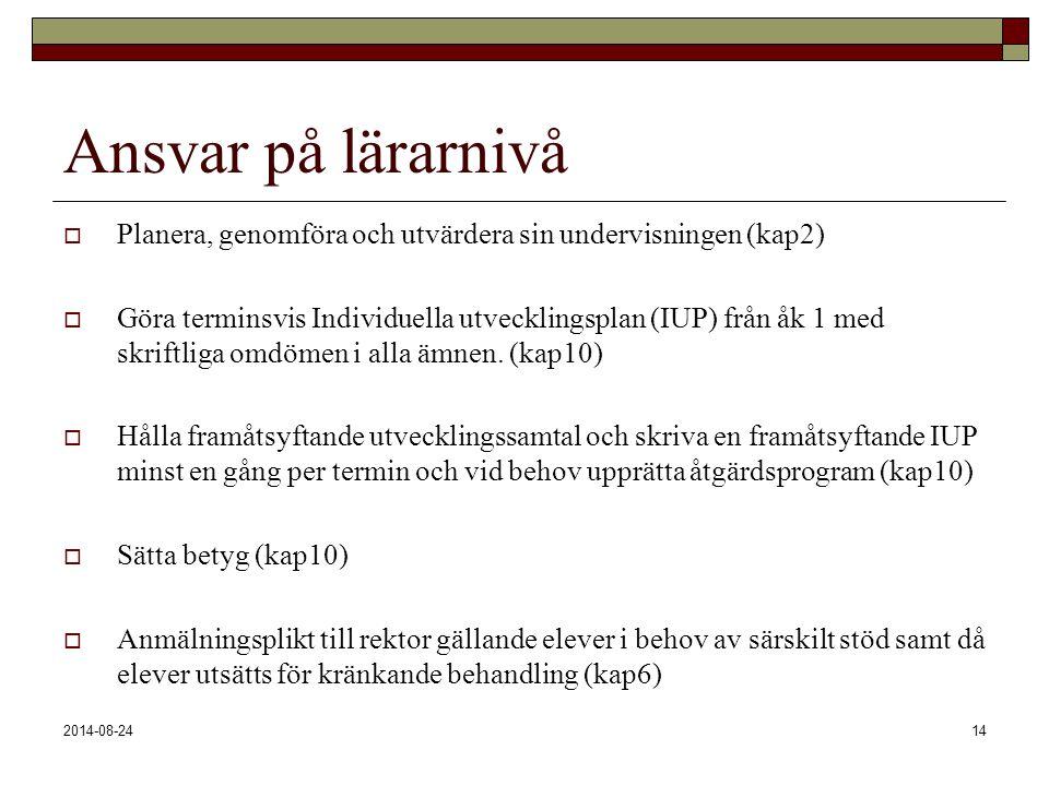 2014-08-2414 Ansvar på lärarnivå  Planera, genomföra och utvärdera sin undervisningen (kap2)  Göra terminsvis Individuella utvecklingsplan (IUP) frå