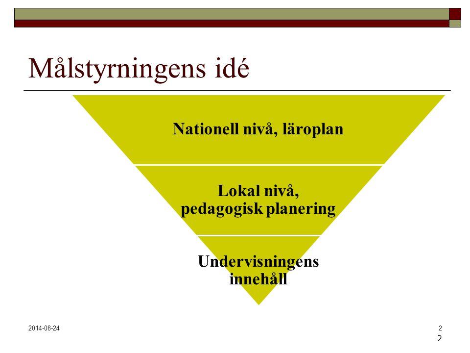 2014-08-242 Målstyrningens idé Nationell nivå, läroplan Lokal nivå, pedagogisk planering Undervisningens innehåll 2