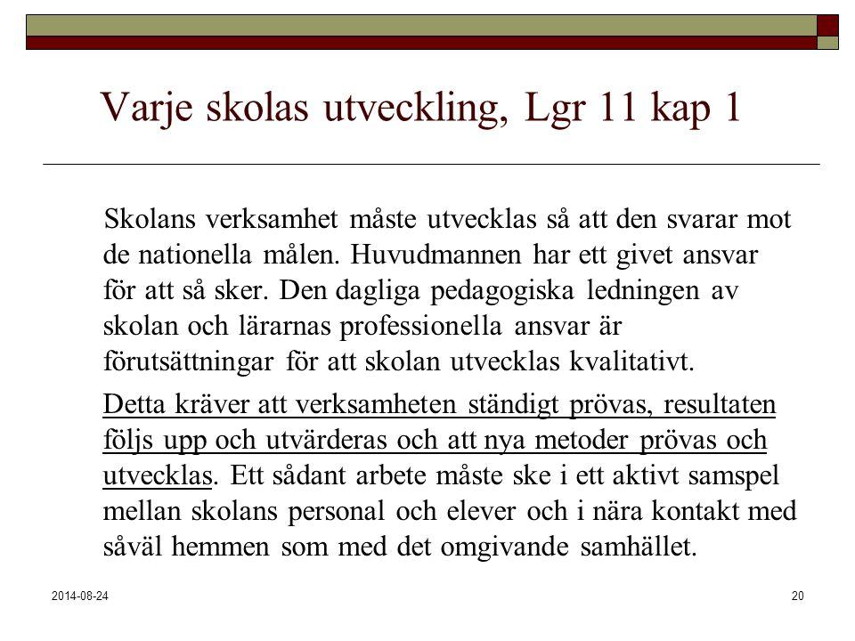 2014-08-2420 Varje skolas utveckling, Lgr 11 kap 1 Skolans verksamhet måste utvecklas så att den svarar mot de nationella målen. Huvudmannen har ett g