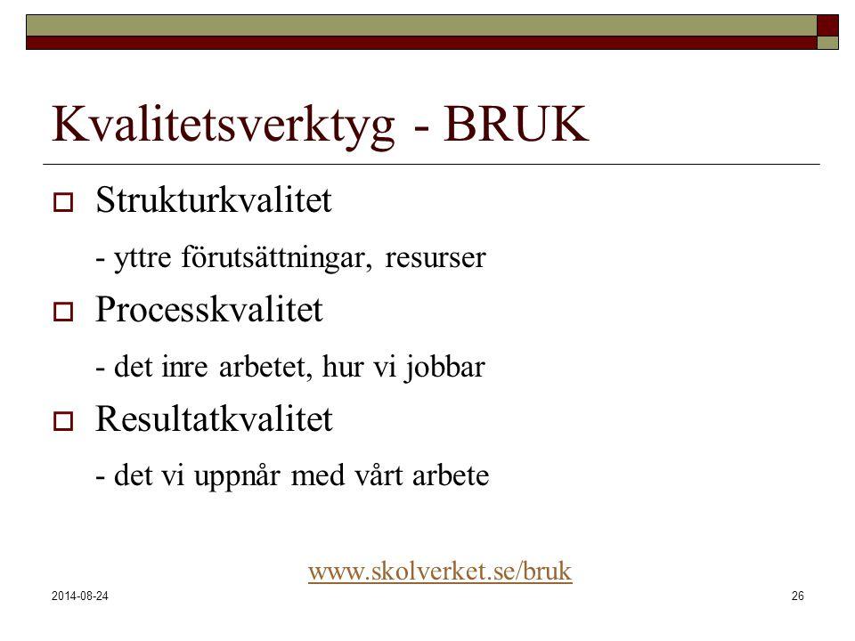 2014-08-2426 Kvalitetsverktyg - BRUK  Strukturkvalitet - yttre förutsättningar, resurser  Processkvalitet - det inre arbetet, hur vi jobbar  Result