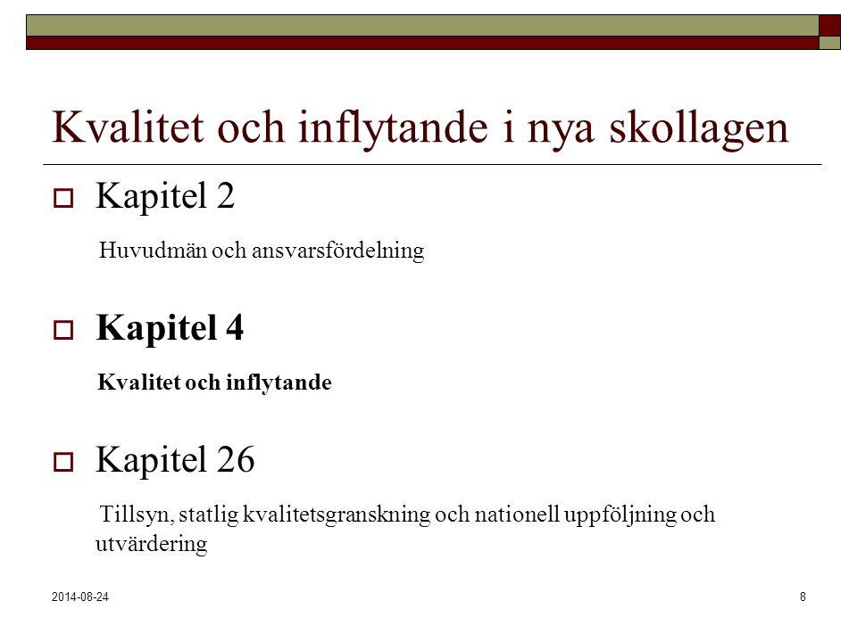 2014-08-248 Kvalitet och inflytande i nya skollagen  Kapitel 2 Huvudmän och ansvarsfördelning  Kapitel 4 Kvalitet och inflytande  Kapitel 26 Tillsy
