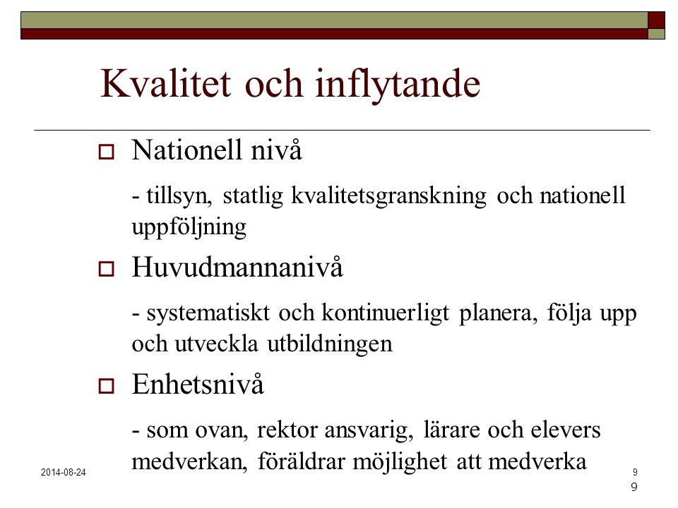 2014-08-249 Kvalitet och inflytande  Nationell nivå - tillsyn, statlig kvalitetsgranskning och nationell uppföljning  Huvudmannanivå - systematiskt