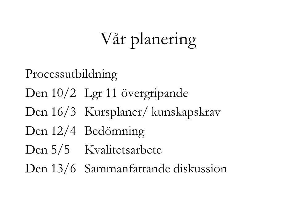 Vår planering Processutbildning Den 10/2 Lgr 11 övergripande Den 16/3 Kursplaner/ kunskapskrav Den 12/4 Bedömning Den 5/5Kvalitetsarbete Den 13/6Samma