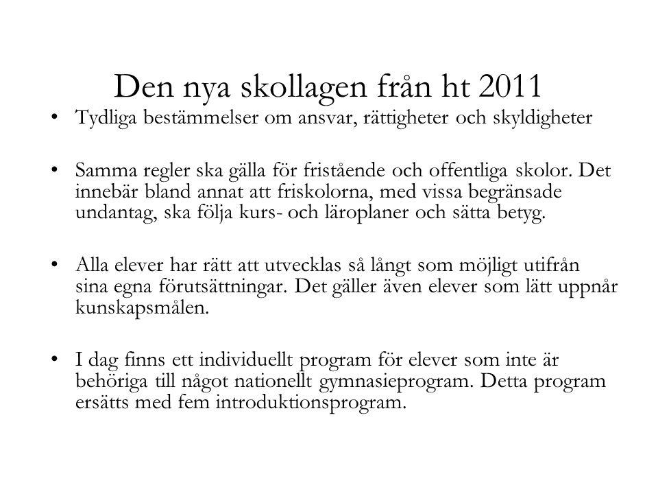 Den nya skollagen från ht 2011 Tydliga bestämmelser om ansvar, rättigheter och skyldigheter Samma regler ska gälla för fristående och offentliga skolo