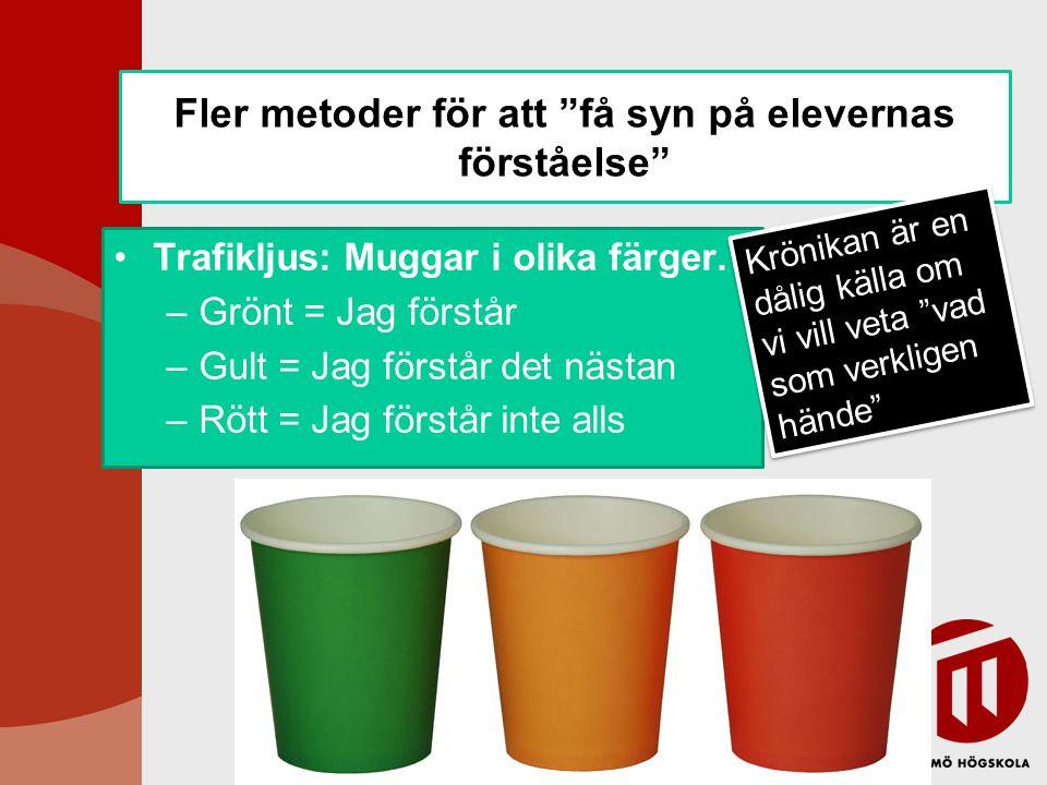 """Fler metoder för att """"få syn på elevernas förståelse"""" Trafikljus: Muggar i olika färger. –Grönt = Jag förstår –Gult = Jag förstår det nästan –Rött = J"""