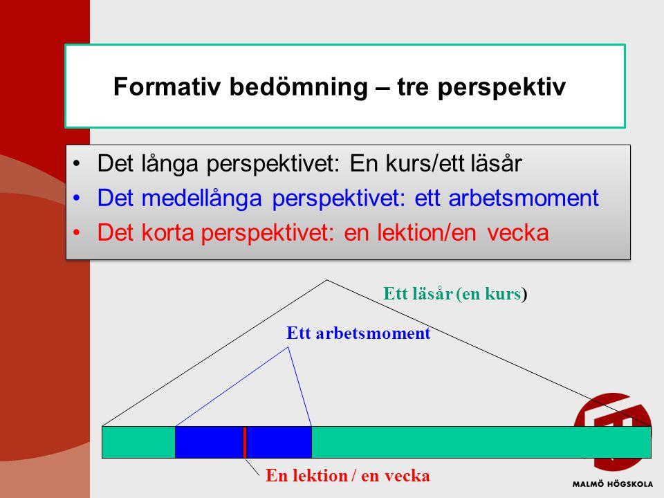 Formativ bedömning – tre perspektiv Det långa perspektivet: En kurs/ett läsår Det medellånga perspektivet: ett arbetsmoment Det korta perspektivet: en