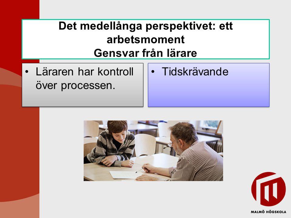 Det medellånga perspektivet: ett arbetsmoment Gensvar från kamrat Eleverna talar samma språk .