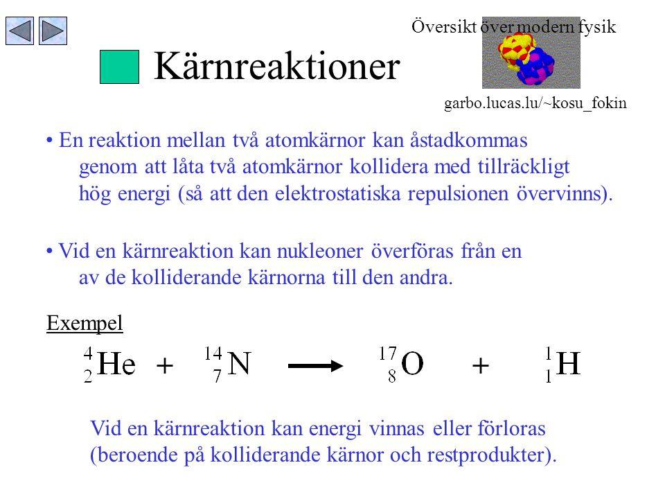 Kärnreaktioner En reaktion mellan två atomkärnor kan åstadkommas genom att låta två atomkärnor kollidera med tillräckligt hög energi (så att den elekt