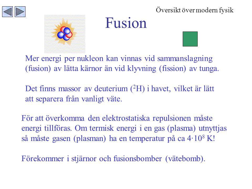 Fusion Mer energi per nukleon kan vinnas vid sammanslagning (fusion) av lätta kärnor än vid klyvning (fission) av tunga. Det finns massor av deuterium