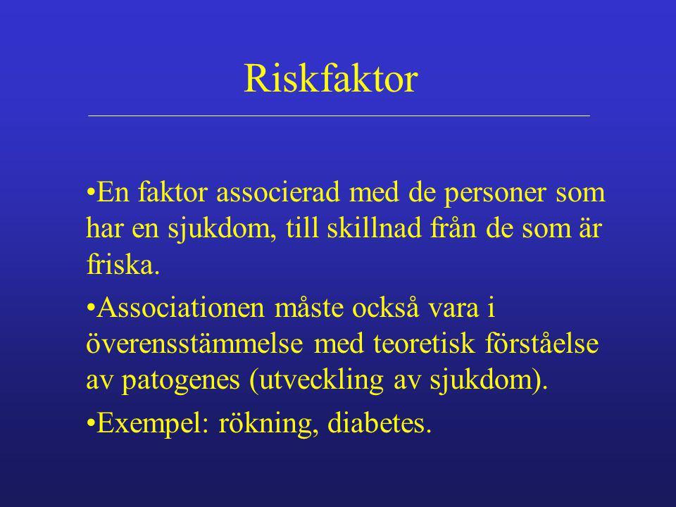 Riskfaktor En faktor associerad med de personer som har en sjukdom, till skillnad från de som är friska. Associationen måste också vara i överensstämm