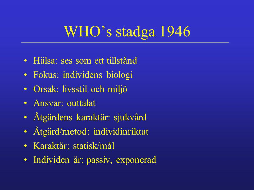 WHO's definition av hälsa 1948 a complete state of physical, mental, and social well-being, and not just the absence of infirmity