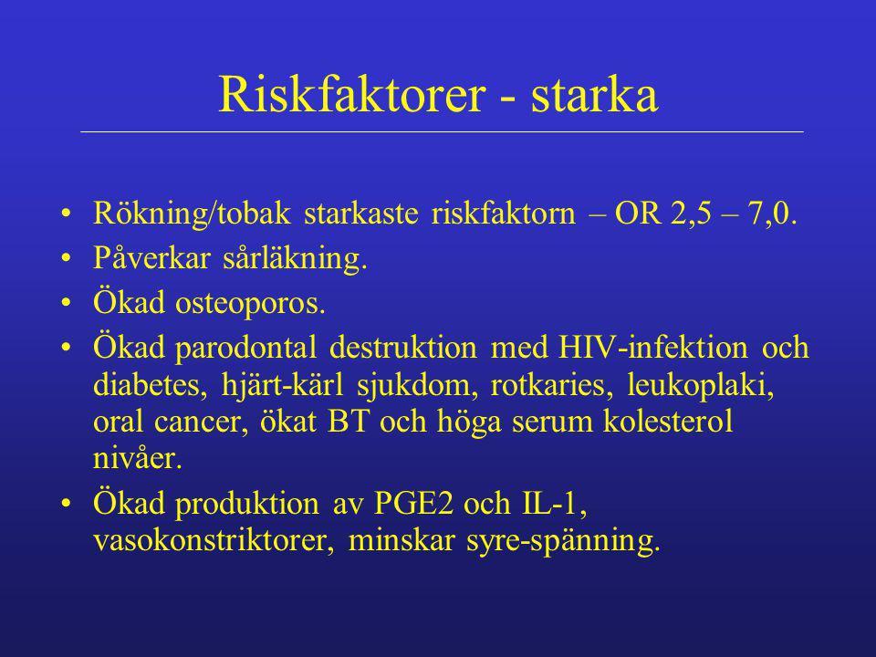 Riskfaktorer - starka Rökning/tobak starkaste riskfaktorn – OR 2,5 – 7,0. Påverkar sårläkning. Ökad osteoporos. Ökad parodontal destruktion med HIV-in