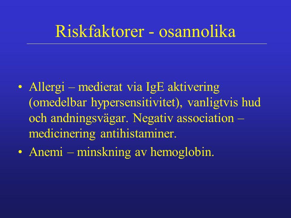 Riskfaktorer - osannolika Allergi – medierat via IgE aktivering (omedelbar hypersensitivitet), vanligtvis hud och andningsvägar. Negativ association –