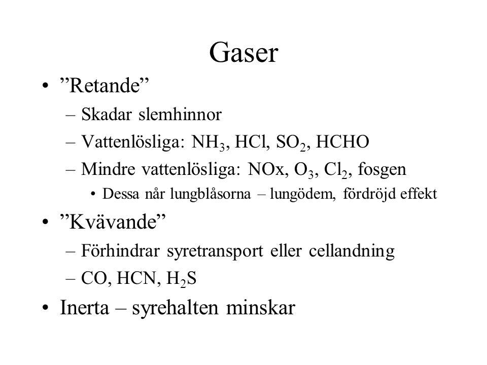 """Gaser """"Retande"""" –Skadar slemhinnor –Vattenlösliga: NH 3, HCl, SO 2, HCHO –Mindre vattenlösliga: NOx, O 3, Cl 2, fosgen Dessa når lungblåsorna – lungöd"""